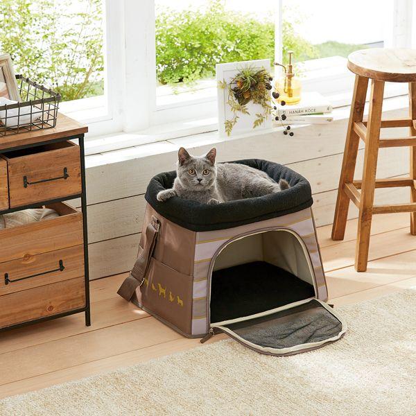 お家では2段ベッド そのままキャリーとしてお出かけできます ダブルデッキベッドキャリー バッグ 通院 猫 ペット Peppy ペピイ 猫 クールな猫 ペット 猫