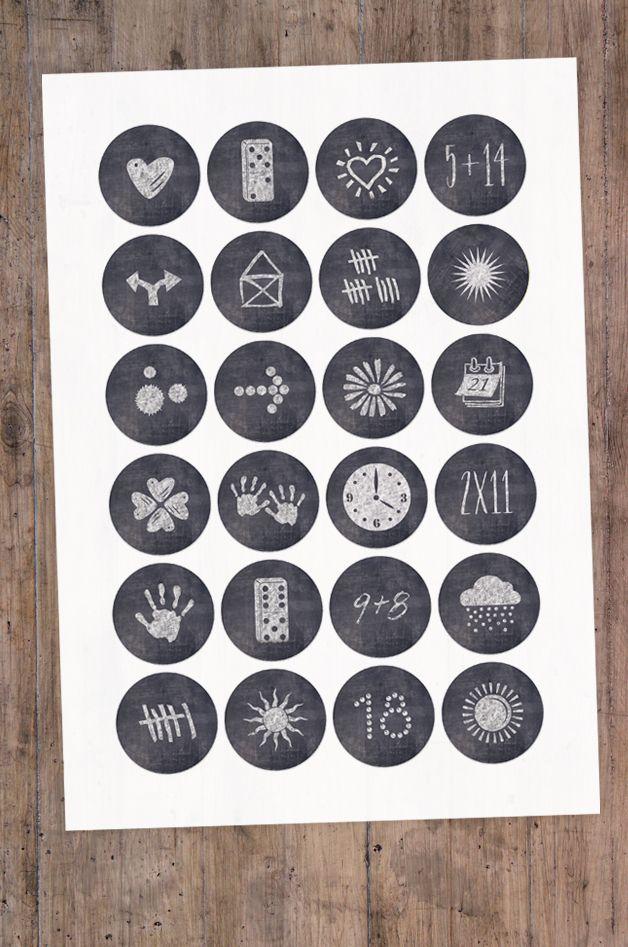 24 Aufkleber Advent Bilder-Kniffl 40 mm #nikolausgeschenkmann