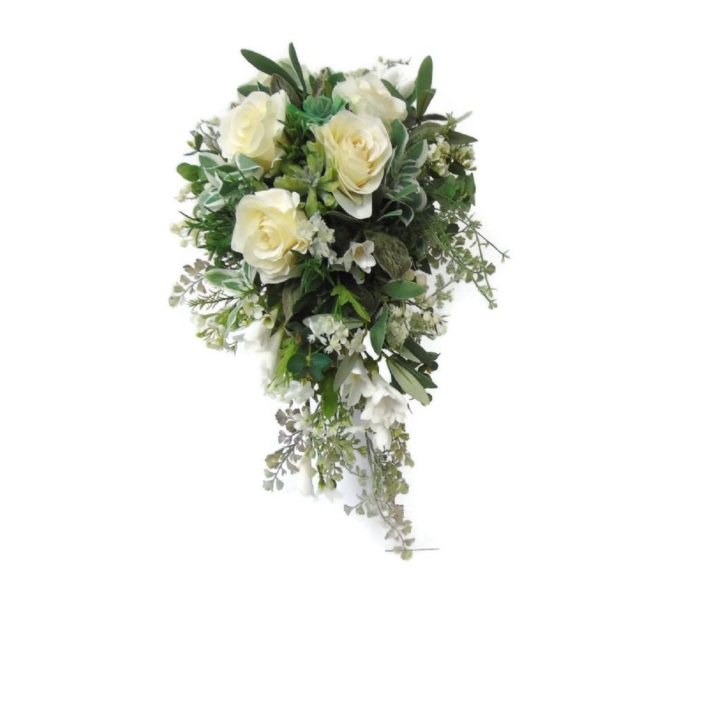 Artificial Cascading Bouquet White Roses Cascading Shower Wedding