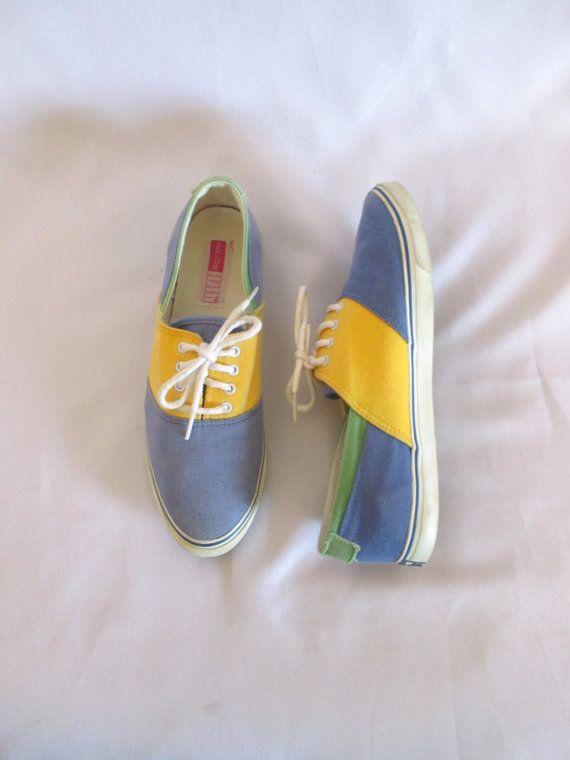 Vintage Canvas Color Block Tennis Shoes