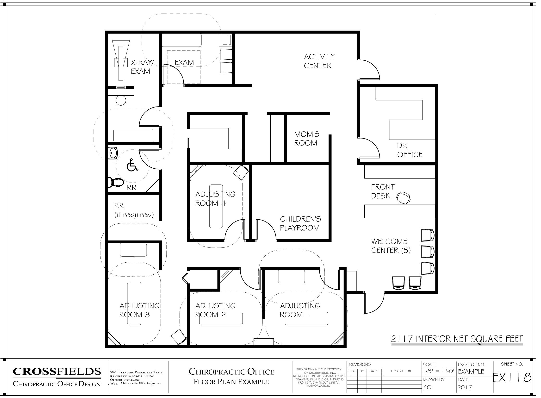 Chiropractic clinic floor plan example with closed for Chiropractic office layout examples