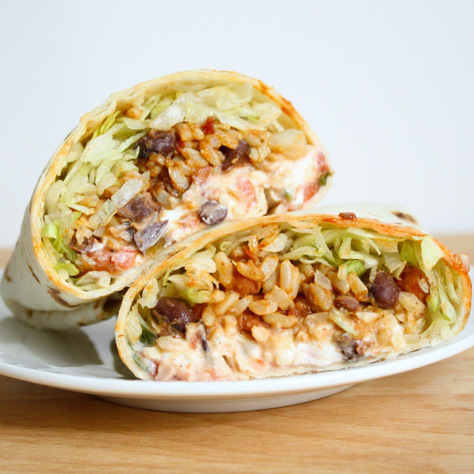 Spicy Bean And Rice Burritos Food Recipes Vegetarian Dishes
