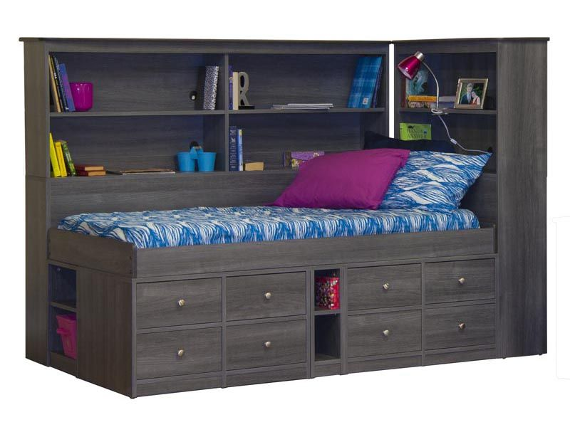 22 95095a94 Jr Captain Bed With Back Bookcase And Bookcase