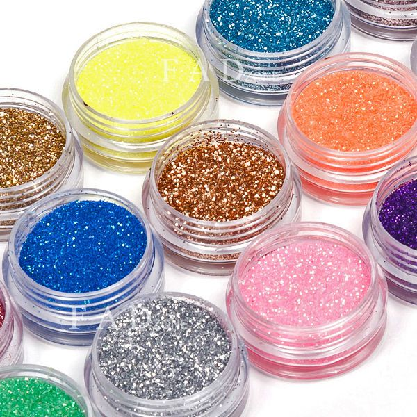 18 Colors Nail Art Glitter Powder Dust for UV Gel Acrylic Powder Decoration Tips | eBay