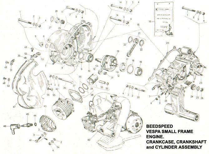 engine v50 b crankcase crankshaft cylinder vespa rebuild ideas rh pinterest com vespa px engine diagram vespa px engine diagram