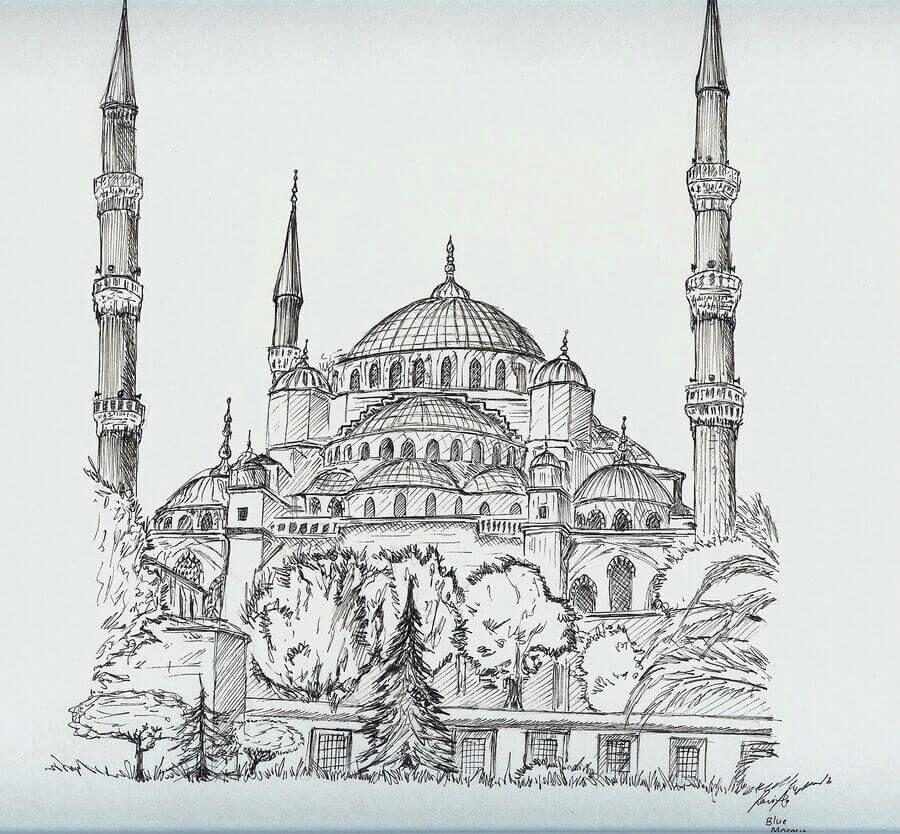 Karakalem Cami Resimleri Charcoal Mosque Drawings 2020 2020 Cizim Egitimleri Cizimler Resim