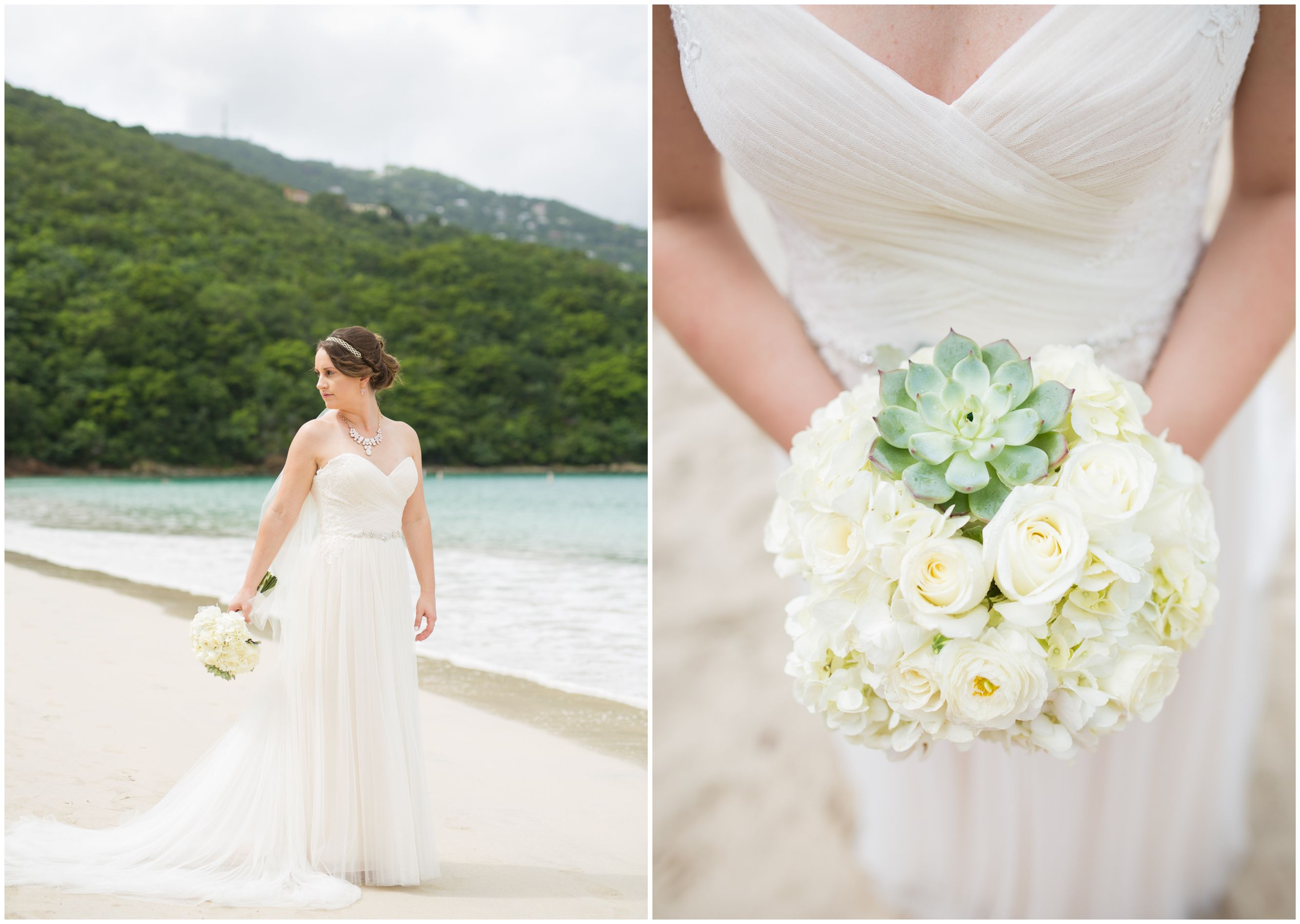 Wedding dresses with purple accents  St Thomas Wedding Magens Bay Stunning bride and gorgeous Succulent