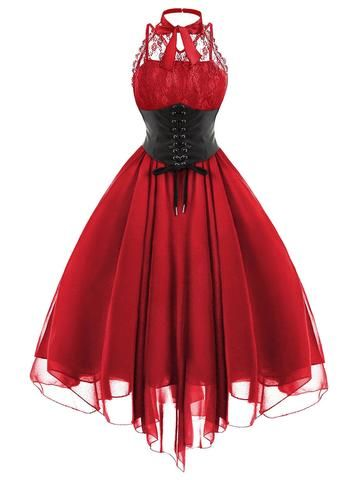 red gothic with corset dress corsetdress gothic