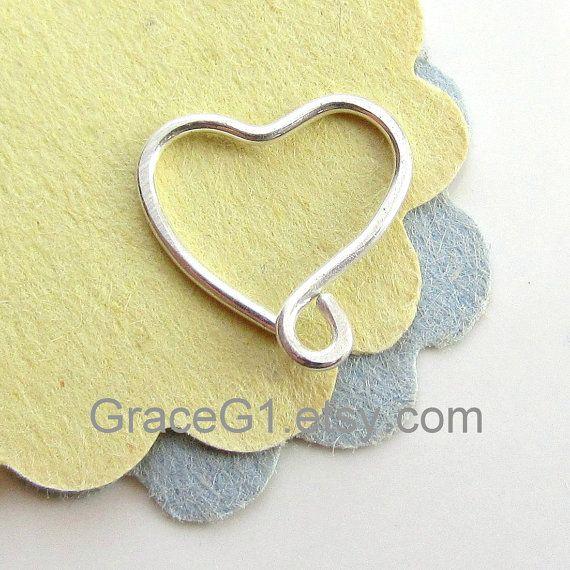 Silver heart rook earrings heart cartilage earrings by GraceG1, $29.99