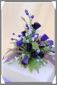 Bought Thistle And Heather Cake Topper With Black Watch Plaid Ribbon Flower Scottish