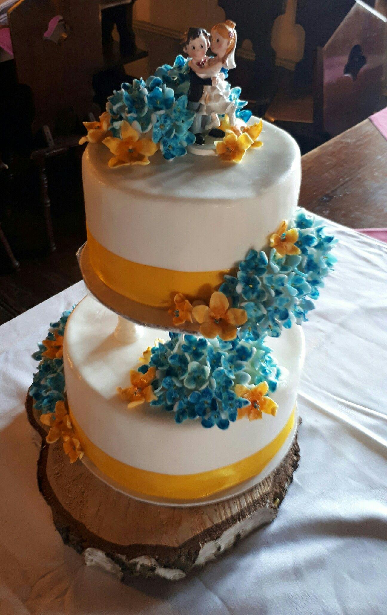 Hochzeitstorte In Weiss Blau Und Gelb Tortentraume