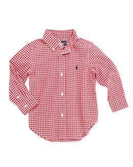 17eaf30b9 Z15J3 Ralph Lauren Childrenswear Blake Long-Sleeve Gingham Shirt, Red,  Boys' 4-7