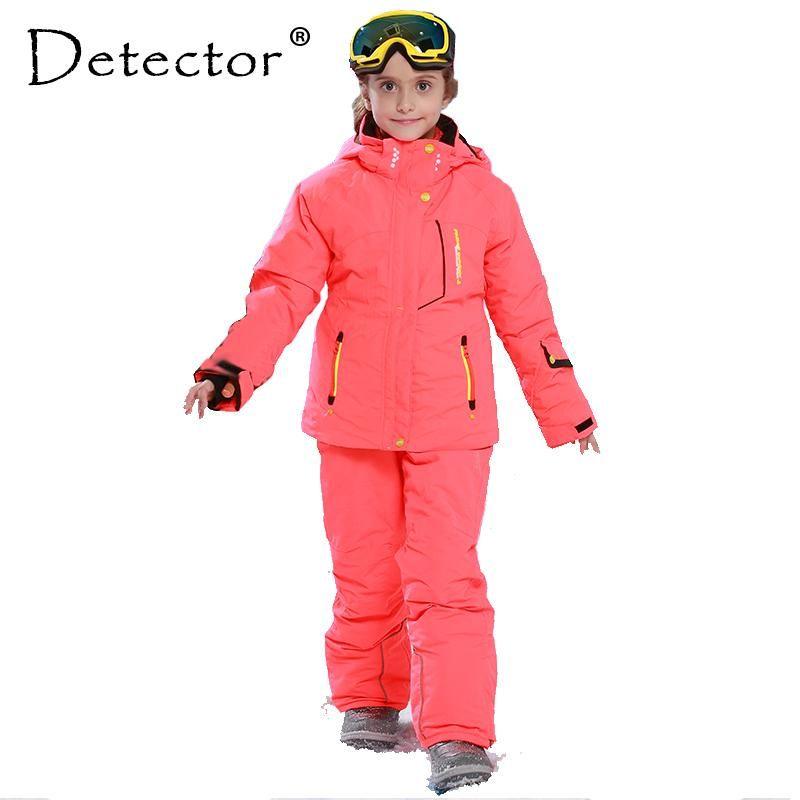 61852230d Detector Girl Winter Windproof Ski Jackets + Pants Outdoor Children Clothing  Set Kids Snow Sets Warm Skiing Suit For Boys Girls