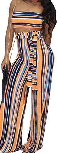 Lutratocro Womens Summer Outfits Spaghetti Strap Crop Top Pants Jumpsuits