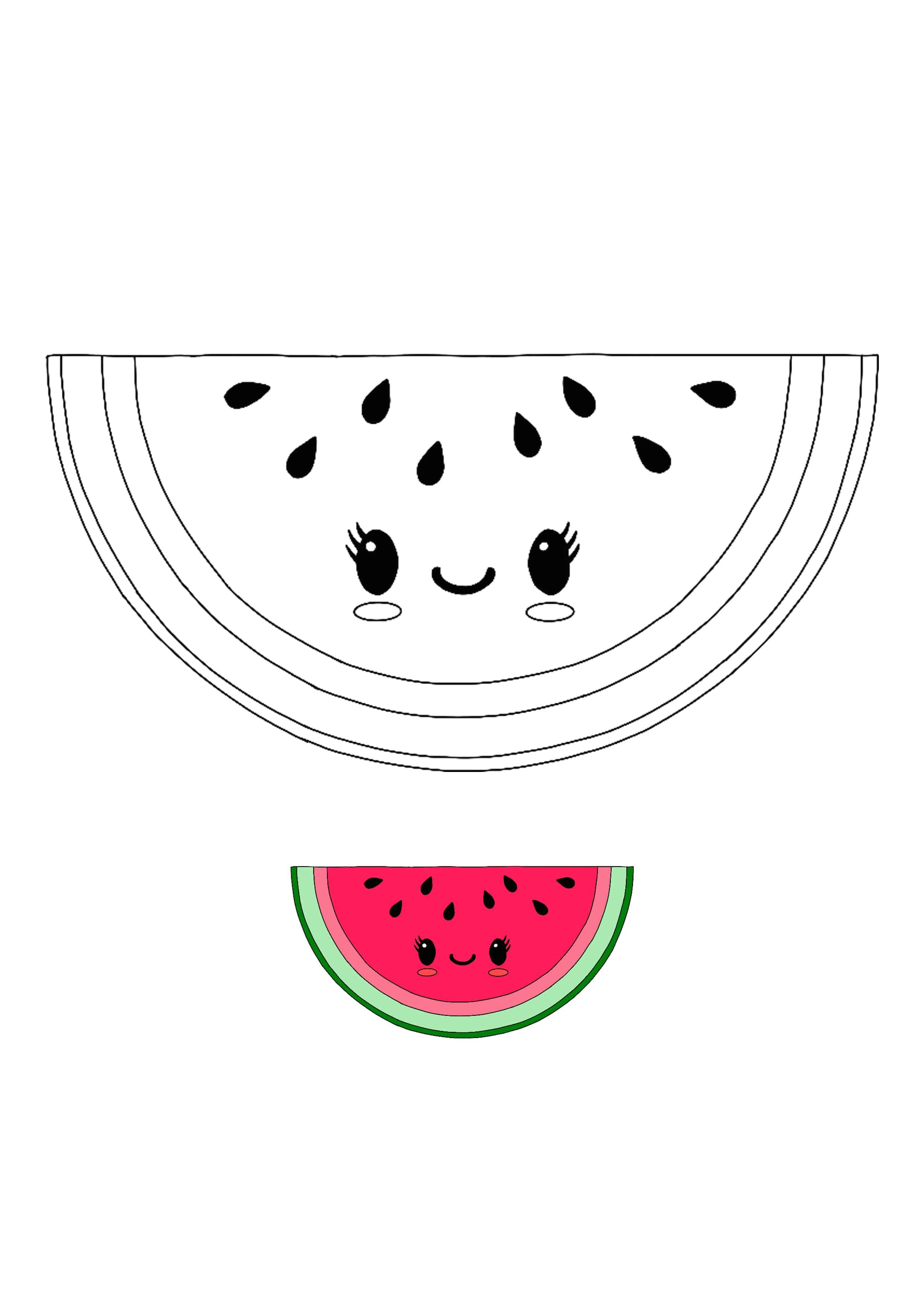 Kawaii Watermelon Coloring Page With Sample Coloring Pages Printables Free Kids Free Printable Coloring Pages