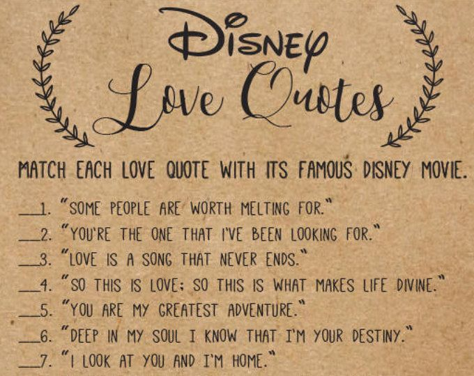 Disney Wedding Quotes Disney Love Songs Bridal Shower Game Printable Instant Download