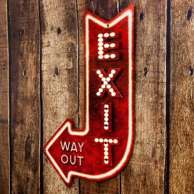 EXIT WAY OUT Metal Red Arrow Theater Man Cave Garage Vintage Style Bar Pub Wall