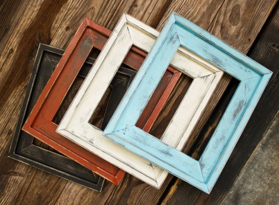 Farmhouse Distressed Frame, Rustic Picture Frame, Hand Painted ...