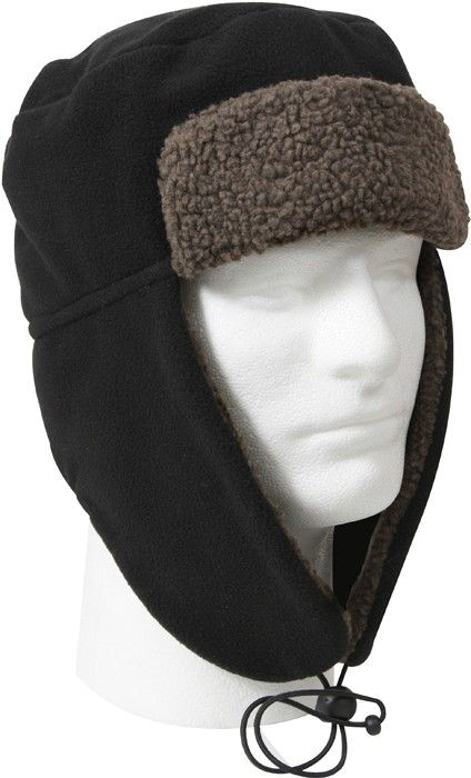 Black Polar Fleece Bomber Aviator Fur Flyer s Trapper Hat ... f540624e53d