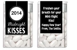personalized new years eve tic tac wrappers labels fun new years eve party favors kissing mints for your mint night kiss