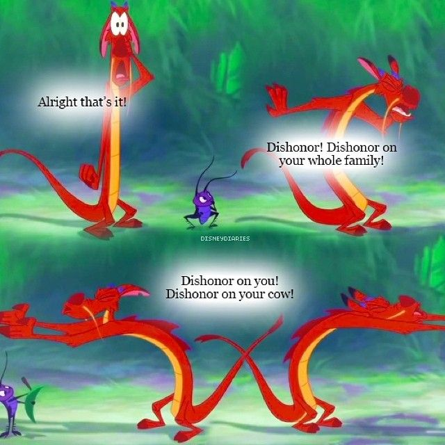 Mulan Funny Quote Mooshu Dishonor On Your Cow Mulan Funny Fandom Funny