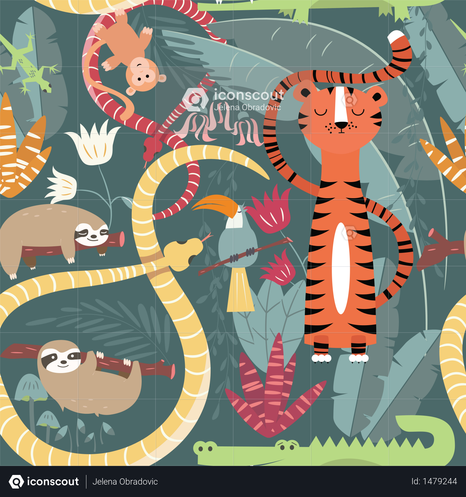 Premium Seamless pattern with cute rain forest animals, tiger, snake, sloth  Illustration download in PNG & Vector format | Rainforest animals, Forest  animals, Tiger illustration