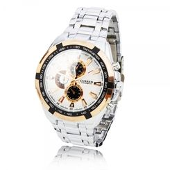 Men Alloy Case Japanese Movement Waterproof Multi-Movement Quartz Wrist Watch Silver Bronze White