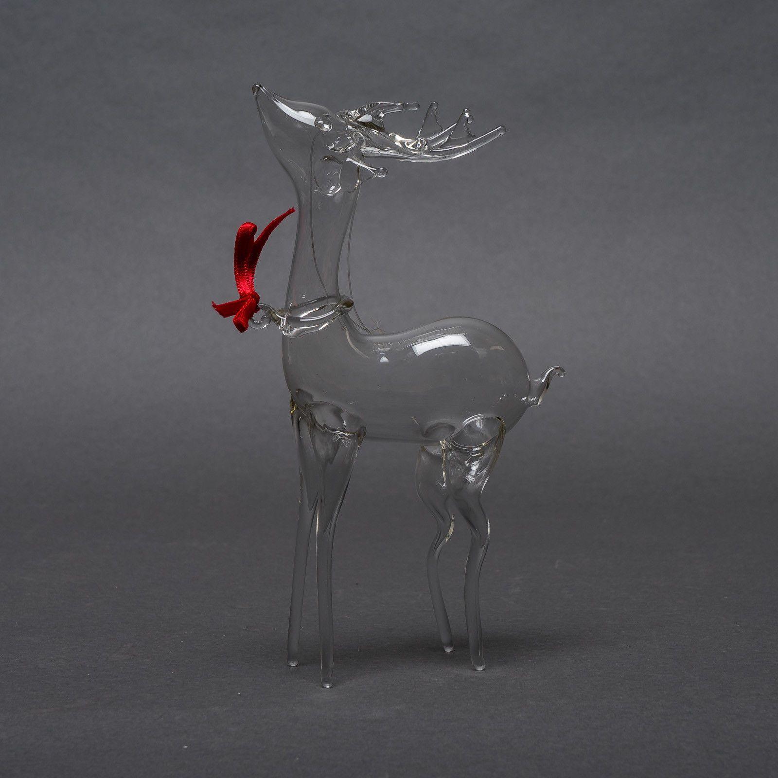 Vintage Hand Blown Clear Art Glass Reindeer Figurine Christmas Ornament Ebay Hand Blown Glass Glass Christmas Tree Ornaments Hand Blown