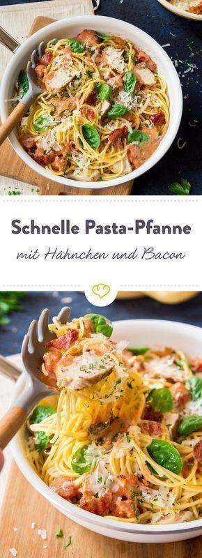 Spaghetti rapide au poulet bacon et épinards  kochen