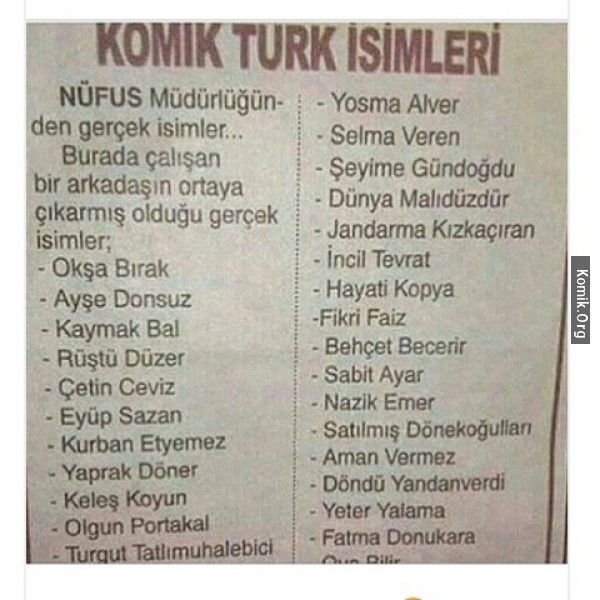 komik türk isimleri | Funny, Stupid memes, Humor