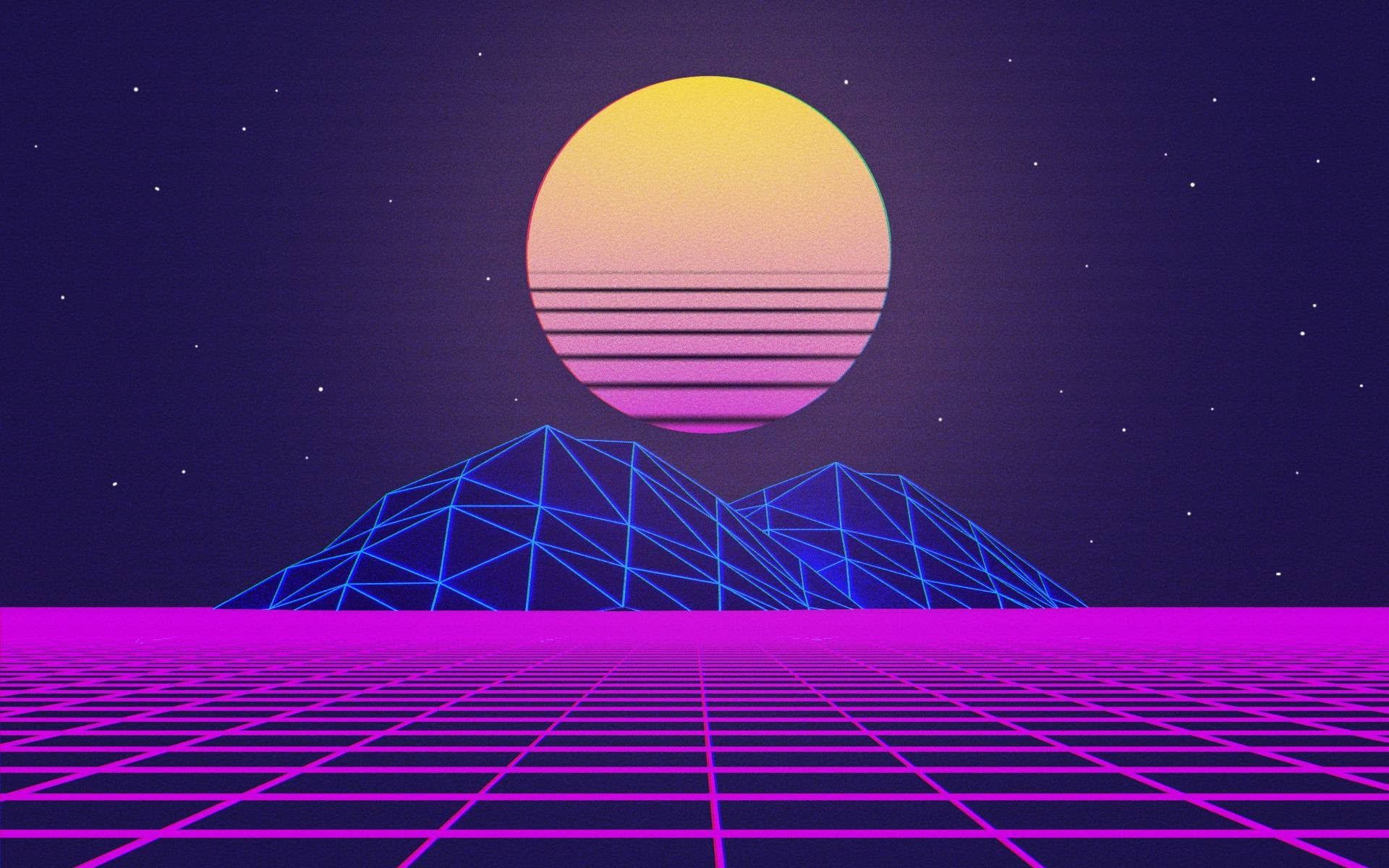 Blue Hill And Yellow Moon Digital Illustration Vaporwave Grid
