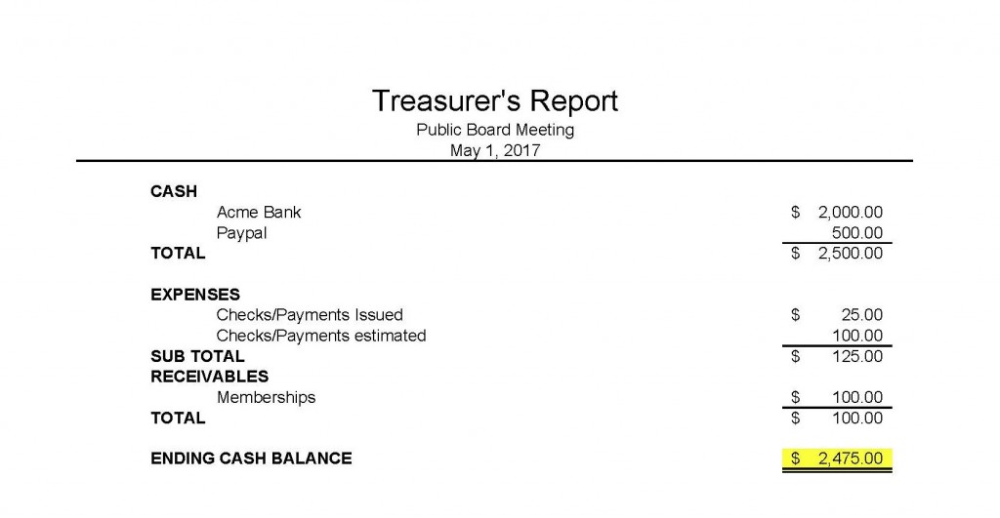 Treasurer Report Template Non Profit 2 Templates Example Templates Example
