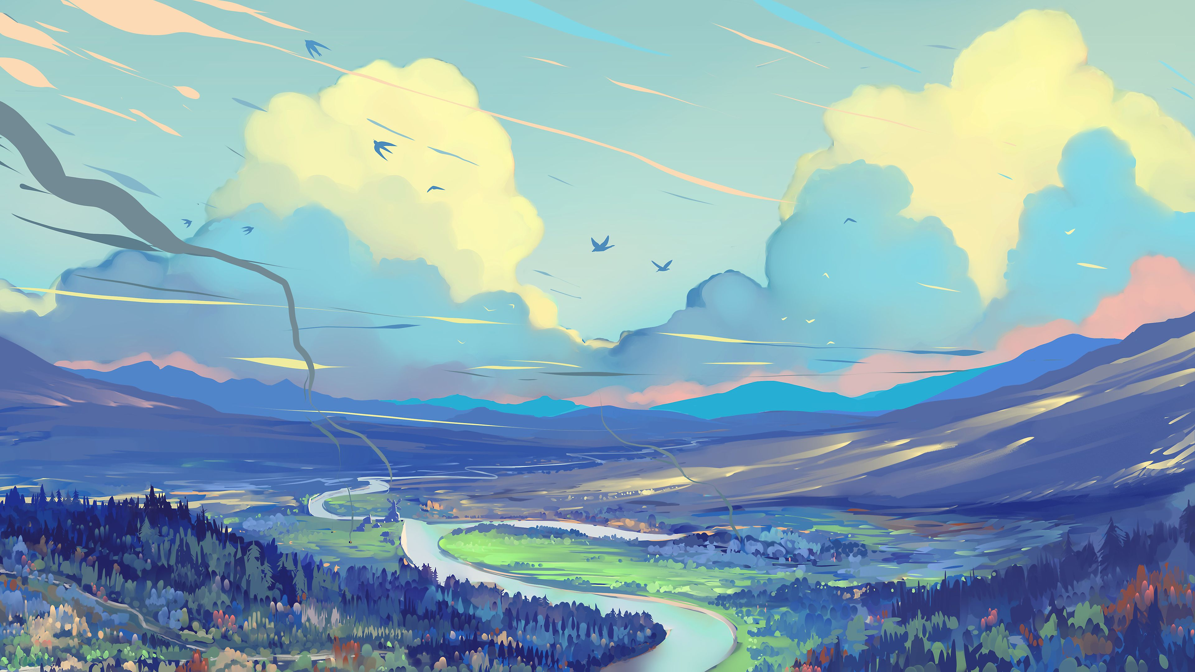 White Blue Red Clouds Scenery Digital Art Painting 4k Painting Wallpapers Hd Wallpapers Digital Art Wall Landscape Wallpaper Art Wallpaper Landscape Wall Art