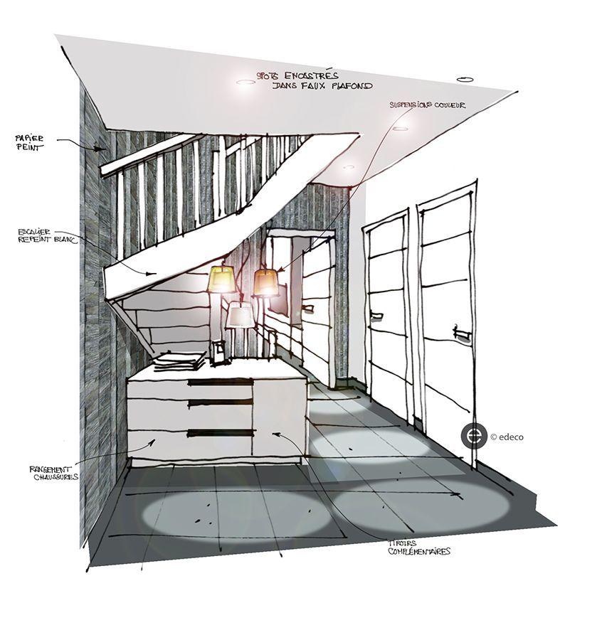 suspensions couleurs dans entr e murs ardoise croquis. Black Bedroom Furniture Sets. Home Design Ideas