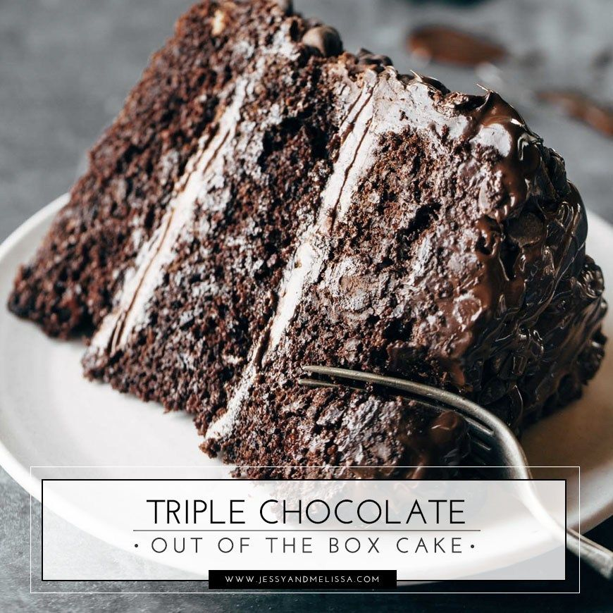 Triple Chocolate Out Of The Box Cake Recipe Desserts Sour Cream Chocolate Cake Chocolate Cake Mix Recipes Chocolate Cake Recipe From Box