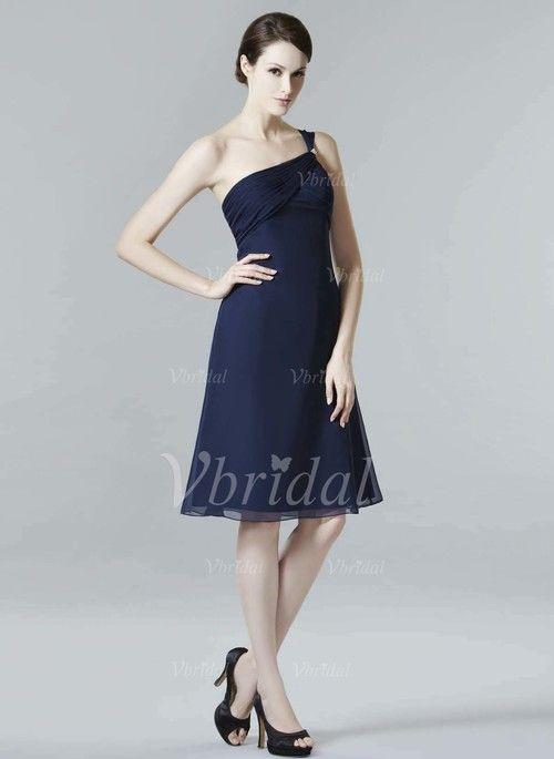 9b2bdf9920 Bridesmaid Dresses -  105.42 - A-Line Princess One-Shoulder Knee-Length  Chiffon Bridesmaid Dress With Ruffle (0075058363)
