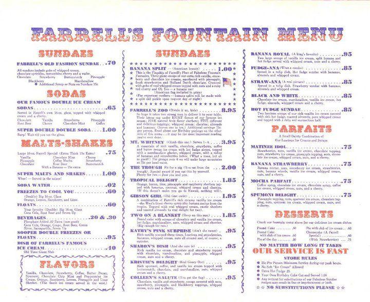 Farrell S Menu Farrell S Ice Cream Ice Cream Parlor Ice Cream Menu