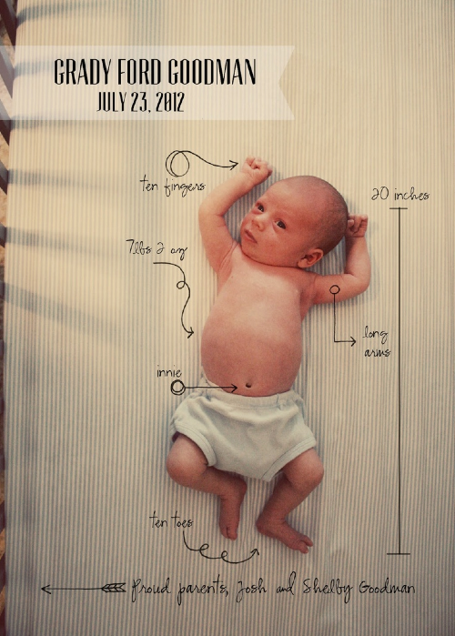 Super easy birth announcement with a new spin. I could totally make these on Photoshop <3
