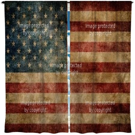 American Flag Custom Made Curtains Guest Room