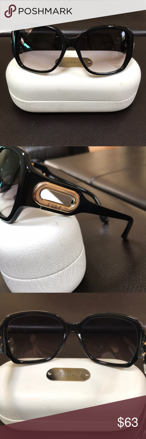 f0eeaf64636 Black Authentic Chloe Sunglasses Black with gold hardware oversized square  authentic Chloe sunglasses