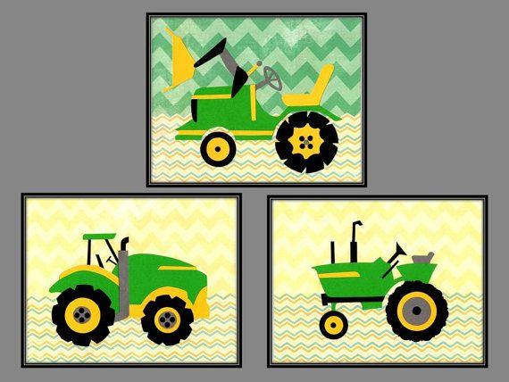 Yellow & Green Tractor Wall Art, John Deere Nursery Decor, Chevron ...