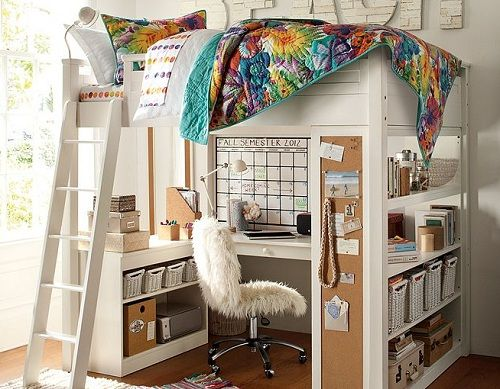 Loft Bed For Girls With Desk: Sleep And Study Bedroom For Teen Girl Rainbow Sheets