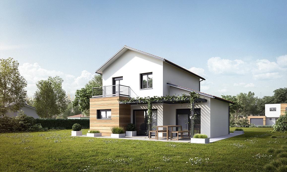 Modèle de maison rt2012 à étage avec suite parentale garage et terrasse mètre carré