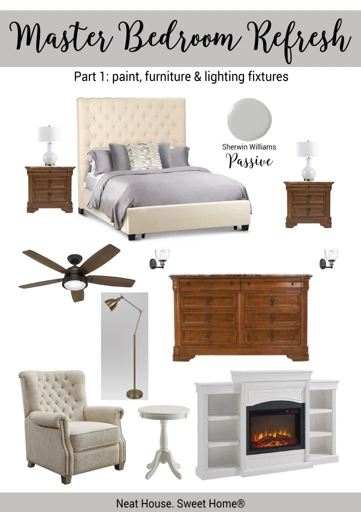 Transitional Style Master Bedroom Makeover (With images