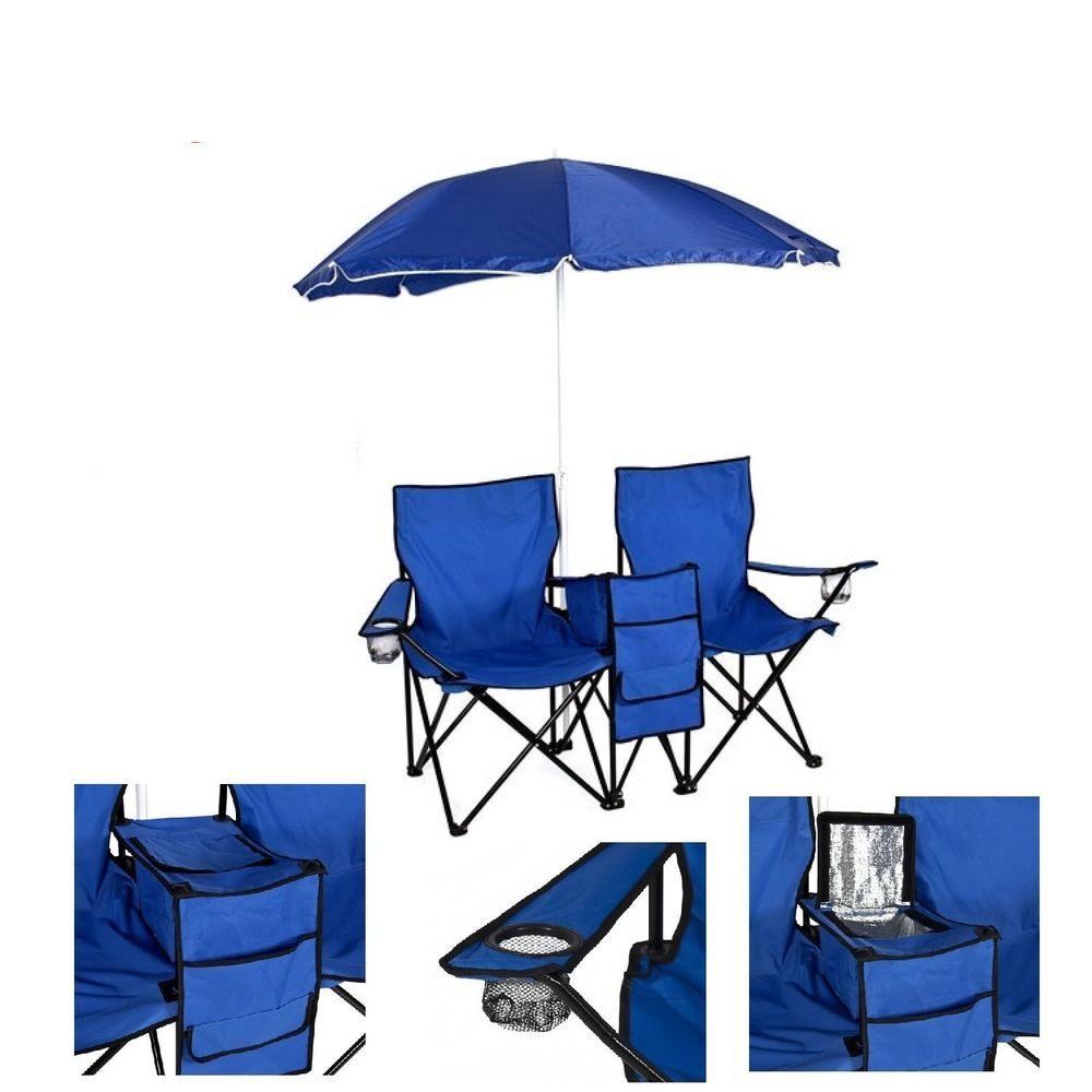 Chair folding picnic double umbrella table cooler beach