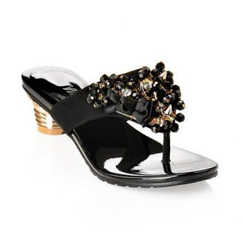 Cheap Wholesale 2013 New Arrival Beads Bow and Rhinestone Design Slippers For Women (BLACK,35) At Price 30.69 - DressLily.com
