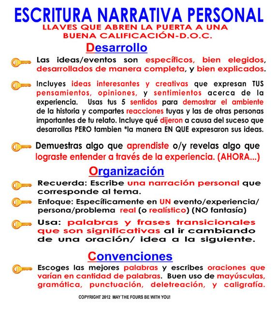 Escritura Narrativa Personal Spanish Writing Personal Narrative Writing Narrative Writing