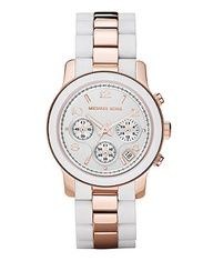 Michael Kors Watch, Womens Chronograph Runway Rose Gold Tone Stainless Steel and Gray Silicone Bracelet 39mm MK5465 - For Her - Jewelry  Watches - Macys