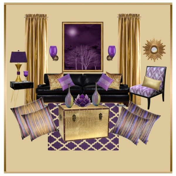 Purple And Gold Shabby Chic Living Room By Truthjc On Polyvore