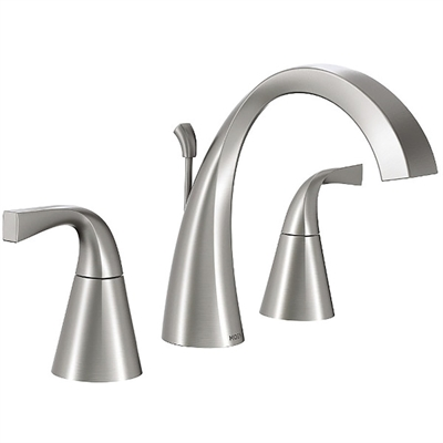 Moen Bathroom Faucet 84661SRN Oxby Brushed Nickel 2 Handle Widespread  WaterSense Bathroom Sink Faucet Drain Included